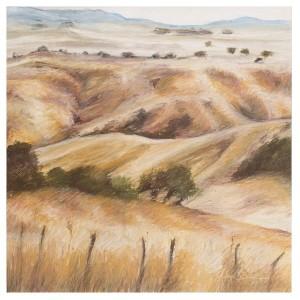 Monaro Hills oil pastel on paper, 63X58cm framed