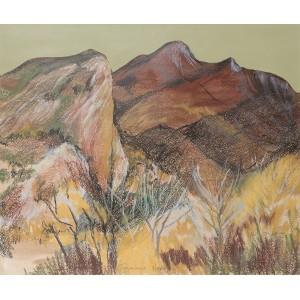 Taurinya South France, oil pastel on paper, 53X58cm framed