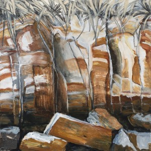 Fannie Bay Rocks 1, acrylic on canvas, 100x100 cm