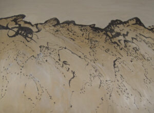 Charcoal Tidelines 1 - After the Bushfires charcoal and acrylic on canvas 75 cm x 100 cm