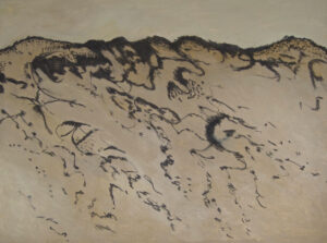 Charcoal Tidelines 2 - After the Bushfires charcoal and acrylic on canvas 75 cm x 100 cm