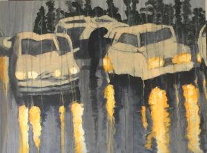 DRIVING RAIN, 2019, mixed media on canvas, 75 cm x100 cm